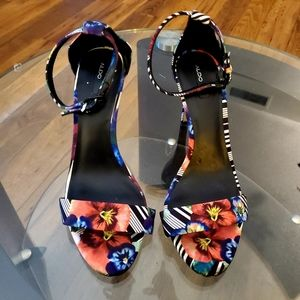Aldo Tropical Floral Strap Heel Sandals